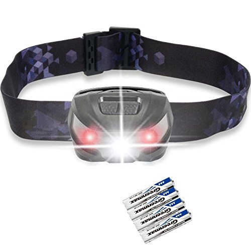 LED Head Torch, Akale Super Bright CREE LED Headlamp, 5 Modes, White & Red LED, 150LM, Water Resistant, Great for Running, Camping, Hiking & Fishing, AAA Battery Included