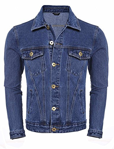 Pudrew Neue Mens Casual Langarm Turn-Down-Kragen Button grundlegende Denim Jacke Mantel Jacken (Mantel Turn-down-kragen)