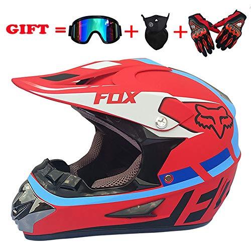 XPSMTOP Erwachsene MX ATV Dirt Bike Motocross UTV Offroad Helm Brille Handschuhe Getriebe Combo Off Road DOT Motocross Helm (4er Set),BlackRed,S -