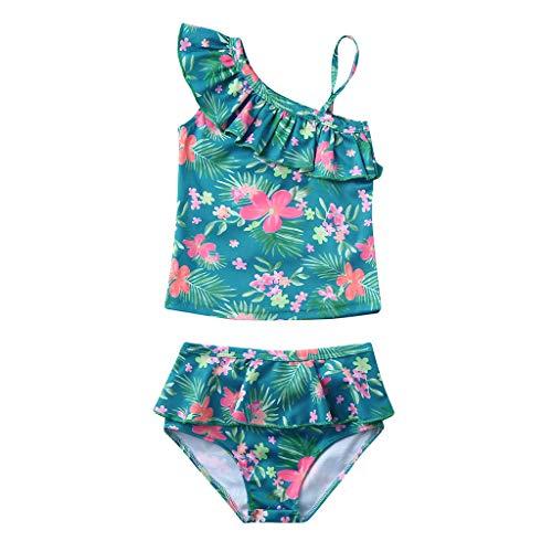 URSING Sommer Retro Blumenm Druck Bikini Set Mädchen Baby Strand Rüschen BH Badeanzug Kinder Schwimmen Badeanzüge  Badebekleidung Bikini-Outfits