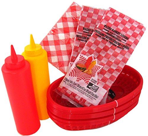 Grill-Set Deli Diner Körbe,, Servietten & Squeeze Flaschen Bundle Von 7Stück für Picknicks, Grillabende, Partys, Bankette, Treffen oder Cookut
