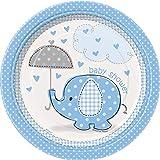 Unique Party 41695 Umbrellaphants Blue Baby Shower Paper Plates