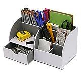 BTSKY Büro- / Schreibtisch-Organizer / Aufbewahrungsbox, multifunktional, aus Kunstleder, für Visitenkarten, Stifte, Handy, Fernbedienung weiß