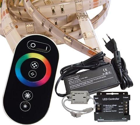 20 Meter (Set) mit Funkfernbedienung: hochwertige RGB LED Stripe Band Streifen Leiste mit 30 LED/m (weiße Oberfläche, IP65, wassergeschützt) + Controller, Netzteile und