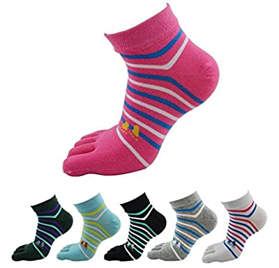 Krystle Women's Striped Finger Socks (FIN-PATTA-SOCK-WOM-PO6, Multicolour, Free Size)- Pack of 6