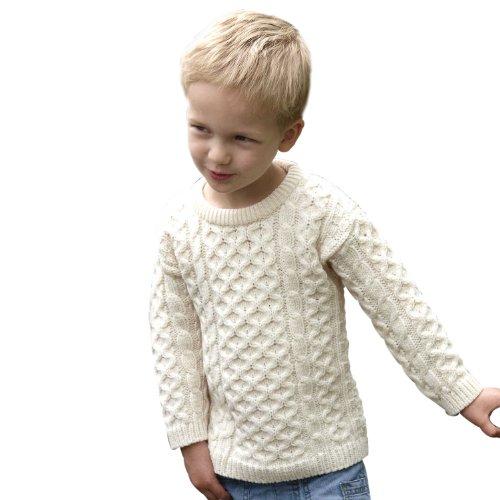 100% Extra Soft Irish Merino Wool Children's Crew Neck Jumper (Natural)