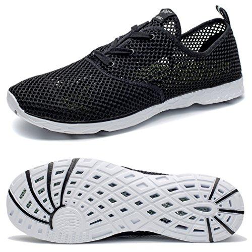 NDB Herren Mesh Lace-Up Schnell Trocknender Aqua Wasser Schuhe (47 EU, Schwarz (Black White))