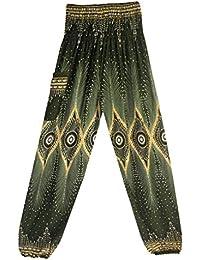 7fbb84ea31ea BIRAN-5 Pantaloni da Donna Lantern Gamba Larga Unico Boho Yoga Pantaloni  Peacock Stampa Sciolti