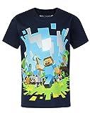 Minecraft - Camiseta de manga corta oficial de Minecraft modelo Adventure para niños (Años (3/4)/Azul marino)