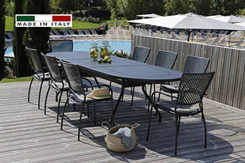 RD ITALIA Set Table Reef XL Super Extensible Ovale et 6 chaises Queen métal de Jardin extérieur Balcon