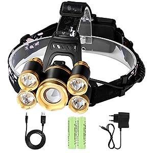 Linterna Frontal LED Recargable Alta Potencia Rango de Iluminación Hasta 500Metros Luz 4 Modos Zoom Ajustable con un Par de Batería para Camping,Running,Caza,Pesca, Ciclismo,Luz de Emergencia y Trabajo al Aire Libre