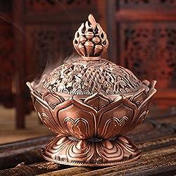 Quemador de incienso tibetano Cuidado fácil Buda Flor de Loto EFECTO Bronce
