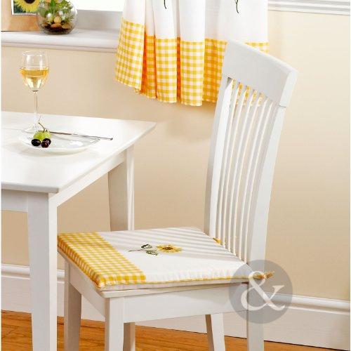 Sonnenblume Küche Esszimmerstuhl Pad Gingham Karo gelb Krawatte auf Sitzkissen Pad Gelb Grün Creme Sitzkissen Pad 40,6x 40,6cm, Polyester, Yellow Green Cream, Sitzkissen 41 x 41 cm -