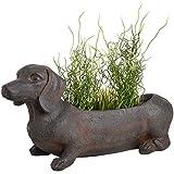 CKB Ltd® Sausage Dog Übertopf Rustikaler Blumentopf braun Garten Terrasse Ornament–Outdoor Indoor Neuheit Blumentopf lang für Seasonal Pflanzen Kräuter 62x 25,5x 35,5cm