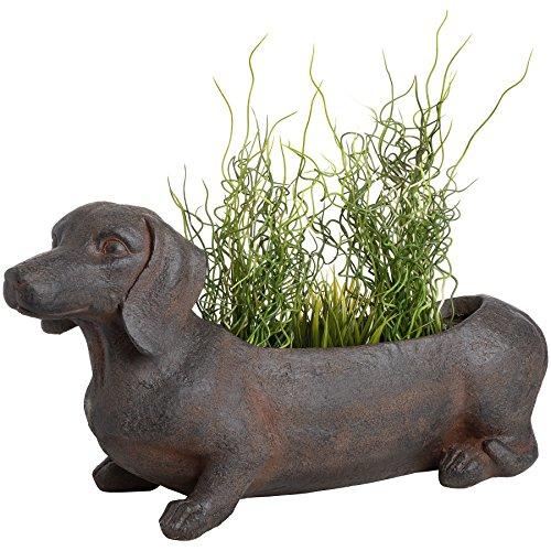 CKB Ltd® Sausage Dog Übertopf Rustikaler Blumentopf braun Garten Terrasse Ornament-Outdoor Indoor Neuheit Blumentopf lang für Seasonal Pflanzen Kräuter 62x 25,5x 35,5cm -