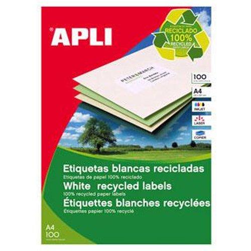 Etiquetas Adhesivas Para Inkjet Laser Y Fotocopiadoras Blanca Cantos Rectos 100 Hojas 70 X 35mm Papel Reciclado
