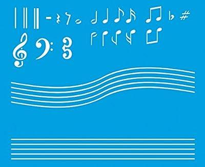 21cm x 17cm Flexibel Kunststoff Universal Schablone - Wand Airbrush Möbel Textil Decor Dekorative Muster Design Kunst Handwerk Zeichenschablone Wandschablone - Musik Musikalische Anmerkungs Noten von Litoarte bei TapetenShop