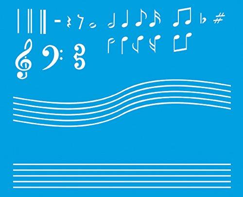 21cm x 17cm stencil di plastica per decorazione parete muro tessuto maglietta aerografo progettazione disegno grafica - musica note musicali chiave di violino