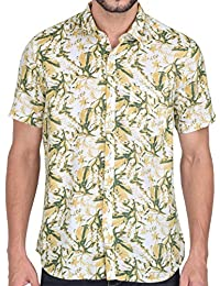 Men Short Sleeve Shirt Casual Hawaiian Flower Floral Party Beach Vacation Aloha Printed Yellow Green Leaf