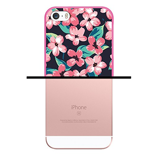 iPhone SE iPhone 5 5S Hülle, WoowCase Handyhülle Silikon für [ iPhone SE iPhone 5 5S ] Chic Stil Gestreiftes Herz Handytasche Handy Cover Case Schutzhülle Flexible TPU - Transparent Housse Gel iPhone SE iPhone 5 5S Rosa D0097