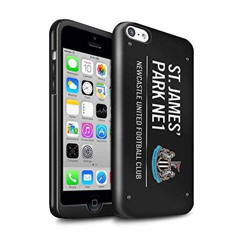 Offiziell Newcastle United FC Hülle / Glanz Harten Stoßfest Case für Apple iPhone 5C / Pack 6pcs Muster / St James Park Zeichen Kollektion Schwarz/Weiß