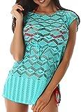 Damen Strand-Kleid Oder Tunika für die Aktuelle Sommerzeit, im Trendiges Häkel-Muster, hervorragend Kombinierbar Minzgrün 38 bis 40