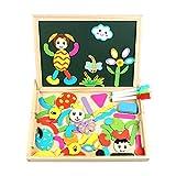 Puzzle Magnetico Legno, InnooTech Giocattolo educativo con lavagnetta Magnetica Puzzle di Legno Doppio Lato Magnetico Puzzle 70 Pezzi Gioco per Bambini oltre 3 anni ( Penne di 3 Colori )