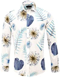 e8620b2ff7c Guide London White and Sky Bold Spaced Leaf Print Mens Shirt LS74562