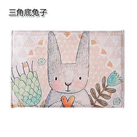 UWSZZ Cute cartoon mat anti-dérapant chambre salon cuisine et salle de bains paillassons tapis porte tapis pad pratunam fin triangulaire du lapin 59*40cm