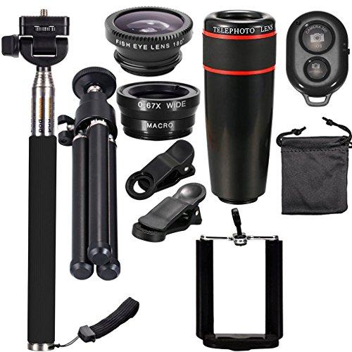 Sharplace Satz von 10 Stücke Handy Objektiv kit mit 8x Teleskop Linse, 3 In 1 Kamera Objektiv, Einbeinstativ Selfie Stick - schwarz