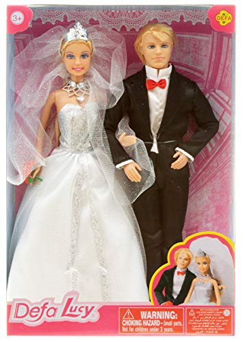 Puppen Hochzeitspaar Puppe Braut und Bräutigam mit Bouquet
