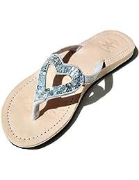 Sentao Damen Mode Thong Zehentrenner Komfort Strandlatschen Strand Schuhe Silber 39