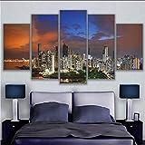 syssyj (Sin Marco) Impreso HD Pintura Sitio De La Decoración del Cartel Modular Wall Art Imagen 5 Panel De Panamá Noche De La Ciudad Ilustraciones