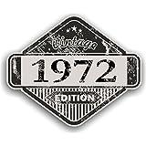 Distressed envejecido Vintage 1972Edition Classic Retro vinilo coche moto Cafe Racer Casco Adhesivo Insignia 85x 70mm