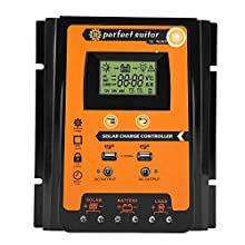 MPPT Solar Charger Controller- Solar Panel Battery Regulator LCD Display with Dual USB Port Display 12V/24V Safe Protection(70A)