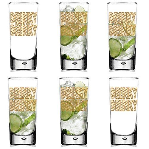 Drinky Drinky Glas, Geschenk-Set, gold metallic Drinky Drinky Highball Glasses durchsichtig -