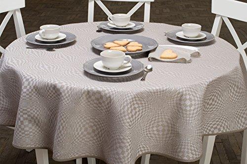 Lin Mode : ronde/ovale à carreaux Nappe en lin en gris et blanc, gris/blanc, 180cm (71\