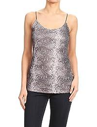 0a86a9f62e02 Anna-Kaci Womens Sleeveless Round Scoop Neck Sequin T-Shirt Camisole Vest  Tank Top