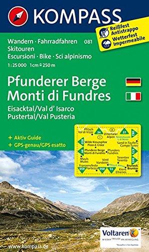 Preisvergleich Produktbild Pfunderer Berge/Monti di Fundres, Eisacktal/Val d'Isarco, Pustertal/Val Pusteria: Wanderkarte mit Aktiv Guide, Radrouten und Skitouren. GPS-genau. 1:25000, dt. /ital. (KOMPASS-Wanderkarten, Band 81)