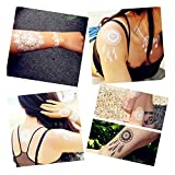 Pinkiou Pack of 6 Sheets Tattoo Stickers Lace Mehndi Temporary Tattoos Fashion Body Art Stickers (White)