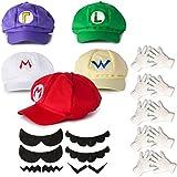 Katara - Juego para disfraz de Super Mario Bros (5 gorras, 6 bigotes, guantes), color rojo, verde, amarillo, morado y blanco