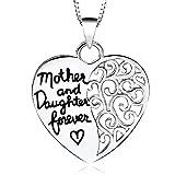"Tono Plateado ""Madre E Hija Para Siempre"" En Inglés Collar Grabado Colgante 2.5 x 2.5 cm Con Cadena De 45cm Amor Corazón Mamá"