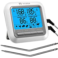 HABOR Termometro Horno, Digital de Cocina, con temporizador, Pantalla LCD Grande y 2 Sondas, color blanco