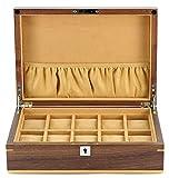 Uhrenkasten Aufbewahrungsbox für 10Uhren aus Holz bicolor Finish Walnuss hell