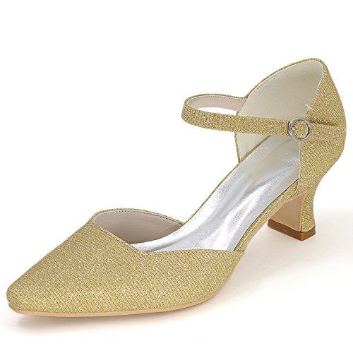 Elobaby scarpe da donna matrimonio punta chiusa punta a punta argento satinato primavera/estate fibbia e sera/tacco 5,5 cm, golden, 42