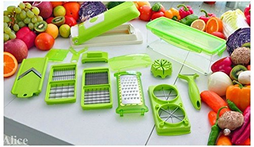Alice 12 PC High Quality Super Slicer Plus Vegetable Fruit Peeler Dicer Cutter Chopper Nicer Grater  available at amazon for Rs.460