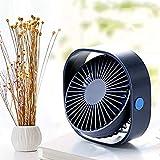 FEMIDAME Petit Ventilateur, Silencieux USB-Mini Ventilateur Personnel avec Ventilateur Portatif De Refroidissement Ultra-Silencieux À 3 Vitesses pour La Plage De Bureau-Blue