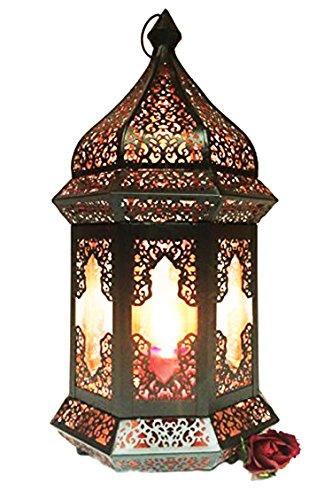 Lampe Outdoor Wand Laterne (Orientalische Laterne aus Metall & Glas Wifaq Klar 40cm | orientalisches Windlicht schwarz mit Glas | Marokkanische Glaslaterne für draußen als Gartenlaterne, oder Innen als Tischlaterne)