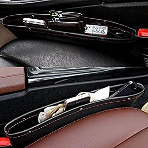 PRO365 2 Pack Rich Leatherette Car Front Seat Storage Mobile/Parking Tickets/Gums/Wallet/Keys Organizer(2 Pieces)