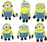 Minions Conjunto Completo 6 Diferentes Personajes Vestido Azul Normal Peluche 30cm Stuart Tim Mel Dave Jerry Carl Original Universal Pictures GRU, mi Villano Favorito